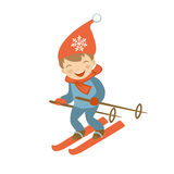 Cute little boy skiing Royalty Free Stock Images