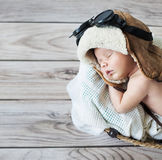 Cute little boy sleeping with goggles Stock Photography