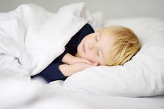 Cute little boy sleeping. Tired child taking a nap in parent`s bed. Clean, fresh and cozy bedding sheets. Bedtime for kids Stock Photo