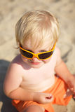 Cute little boy in solar glasses Stock Photos