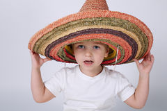 Cute little boy with sombrero royalty free stock photography