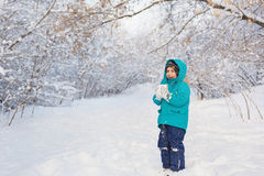 Cute little boy stands and keep snow in park. A cute little boy stands and keep snow in park in the winter Royalty Free Stock Photography
