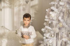 Cute little boy stands near the Christmas tree Stock Photo