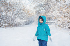 Cute little boy stands in winter forest. A cute little boy stands in winter forest Royalty Free Stock Photography