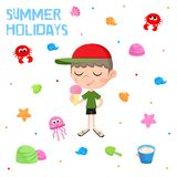 Summer holidays - Little boy and ice cream - Adorable sticker set - Beach party elements Stock Image
