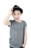 Cute little boy surprise face with hat isolate on  Royalty Free Stock Image