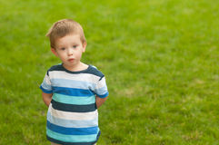 Cute little boy with surprised look on his face Royalty Free Stock Images