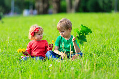 Cute little boy and toddler girl playing on green grass Royalty Free Stock Images