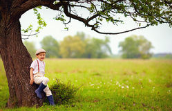 Cute little boy under the big blooming pear tree, countryside Royalty Free Stock Photo