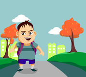 Cute little boy walks along the pathway. Cute little boy with backpack walks along the pathway royalty free illustration