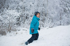 Cute little boy walks in a snow in park in the winter. A cute little boy walks in a snow in park in the winter Stock Images