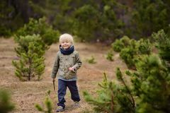Cute little boy walks in Swiss national Park on spring. Hiking with little kids. Cute little boy walks in Swiss national Park on spring. Active family time on stock image