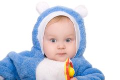 Cute little boy with a warm blue coat Stock Photo
