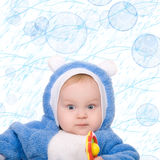 Cute little boy with a warm blue coat Royalty Free Stock Photo
