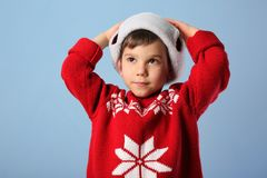 Cute little boy in warm clothes Royalty Free Stock Image