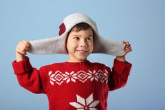 Cute little boy in warm clothes Stock Photos