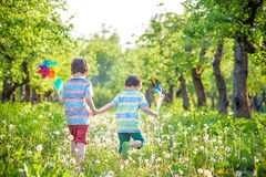 Free Cute Little Boy Watering Plants With Watering Can In The Garden. Activities With Children Outdoors. Royalty Free Stock Image - 96571176