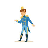 Cute little boy wearing a blue prince costume, fairytale costume for party or holiday vector Illustration Royalty Free Stock Photography