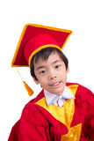 Cute Little Boy Wearing Red Gown Kid Graduation With Mortarboard Stock Photography