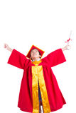 Cute Little Boy Wearing Red Gown Kid Graduation With Mortarboard Stock Photo