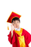 Cute Little Boy Wearing Red Gown Kid Graduation With Mortarboard Stock Images