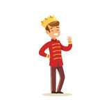 Cute little boy wearing in a red prince costume, fairytale costume for party or holiday vector Illustration Stock Images
