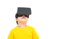 Cute little boy wearing  VR or Virtual Reality headset Stock Images
