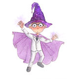 Cute little boy with white hair is pretending he is a wizard doing magic. Boy wearing a costume of a white wizard. He has a magical purple hat and a purple cape Stock Image
