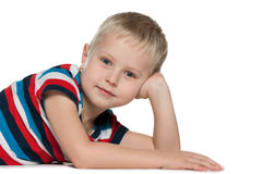 Cute little boy on the white Stock Image