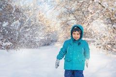 Cute little boy in winter park. A cute little boy in winter park Stock Images