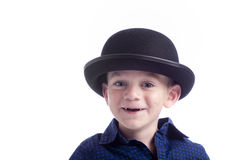 Cute little boy wit bowler hat Stock Image