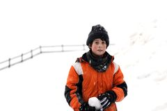 Cute little boy with wool cap and winter jacket Royalty Free Stock Photos