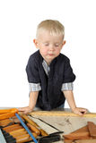 Cute little boy in work costume Stock Photography