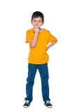Cute little boy in the yellow shirt Royalty Free Stock Photography