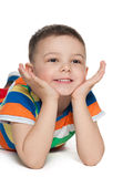 Cute little boys looks aside Stock Photography