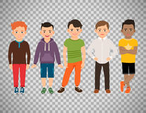 Cute little boys on transparent background. Cute little boys characters isolated on transparent background. Guys lads vector illustration Stock Photos