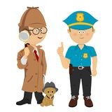 Cute little boys wearing detective and policeman costumes poses with puppy on white. Background Royalty Free Stock Image