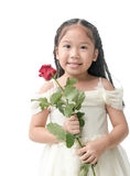 Cute little bridesmaid holding red rose, concept valentine Royalty Free Stock Photo
