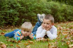 Cute little brother childrens lying on green grass in park.  royalty free stock photo
