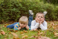 Cute little brother childrens lying on green grass in park.  stock photo