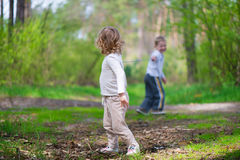 Cute little brother and sister at forest Royalty Free Stock Photo