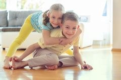 Cute little brother and sister having fun Royalty Free Stock Image