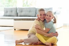 Cute little brother and sister having fun Stock Images