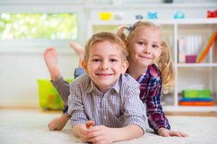 Cute little brother and sister having fun Royalty Free Stock Photo