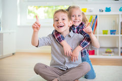Cute little brother and sister having fun Royalty Free Stock Photos