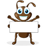 Cute little brown ant with blank sign Stock Images