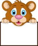 Cute little brown bear cartoon with blank sign Stock Photo