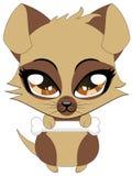 Cute little brown puppy. Cartoon illustration of cute cartoon little brown puppy holds bone Royalty Free Stock Photo