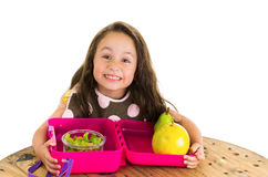 Cute little brunette girl with her healthy Stock Images