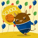 Cute little bull in school uniform playing basketball. On the background with colorful balloons. School is cool vector illustration, colorful design element for stock illustration